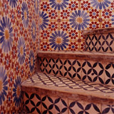 Intricately tiled staircase